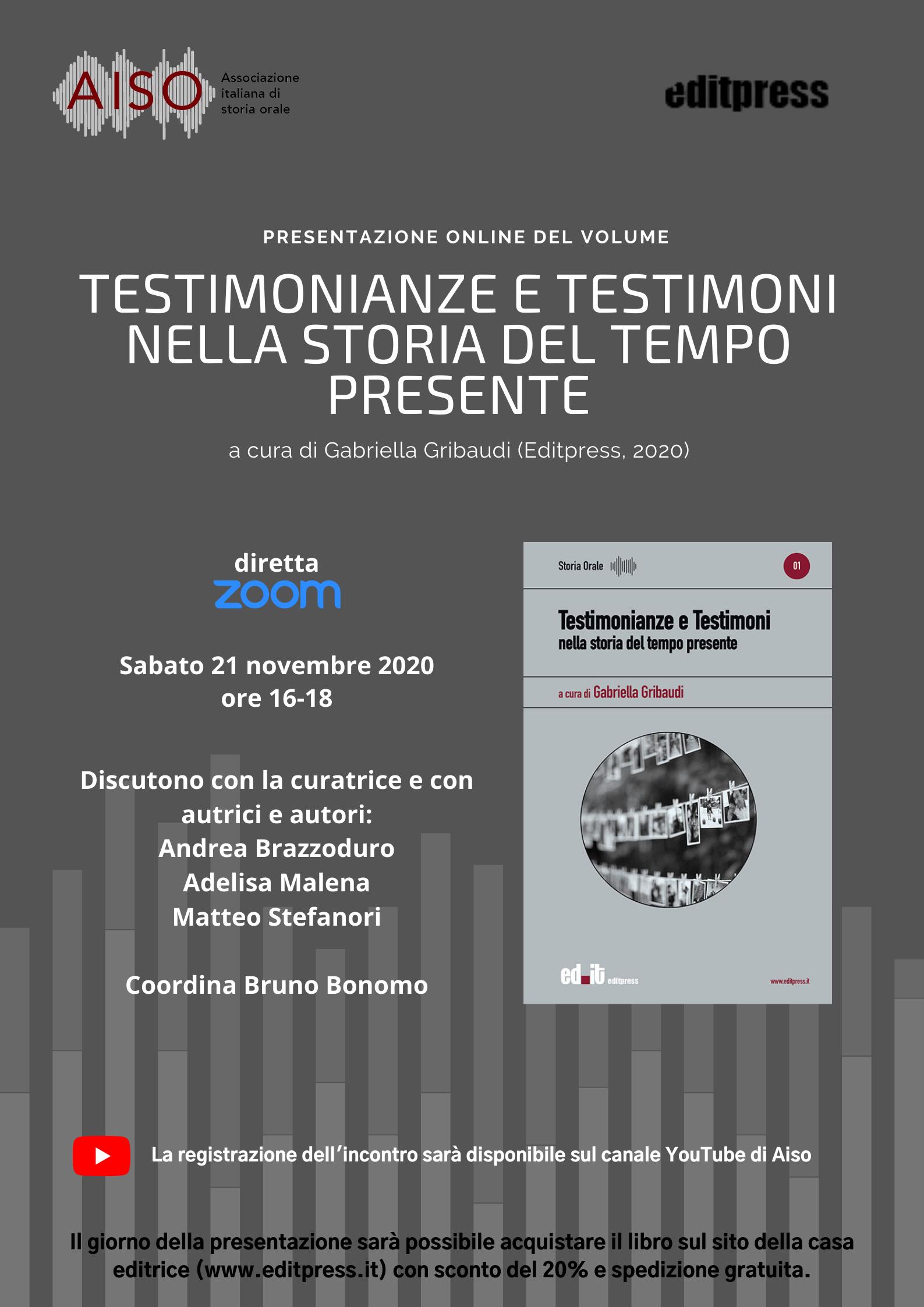 Testimonianze e Testimoni di Gabriella Gribaudi - Presentazione Volume su Zoom